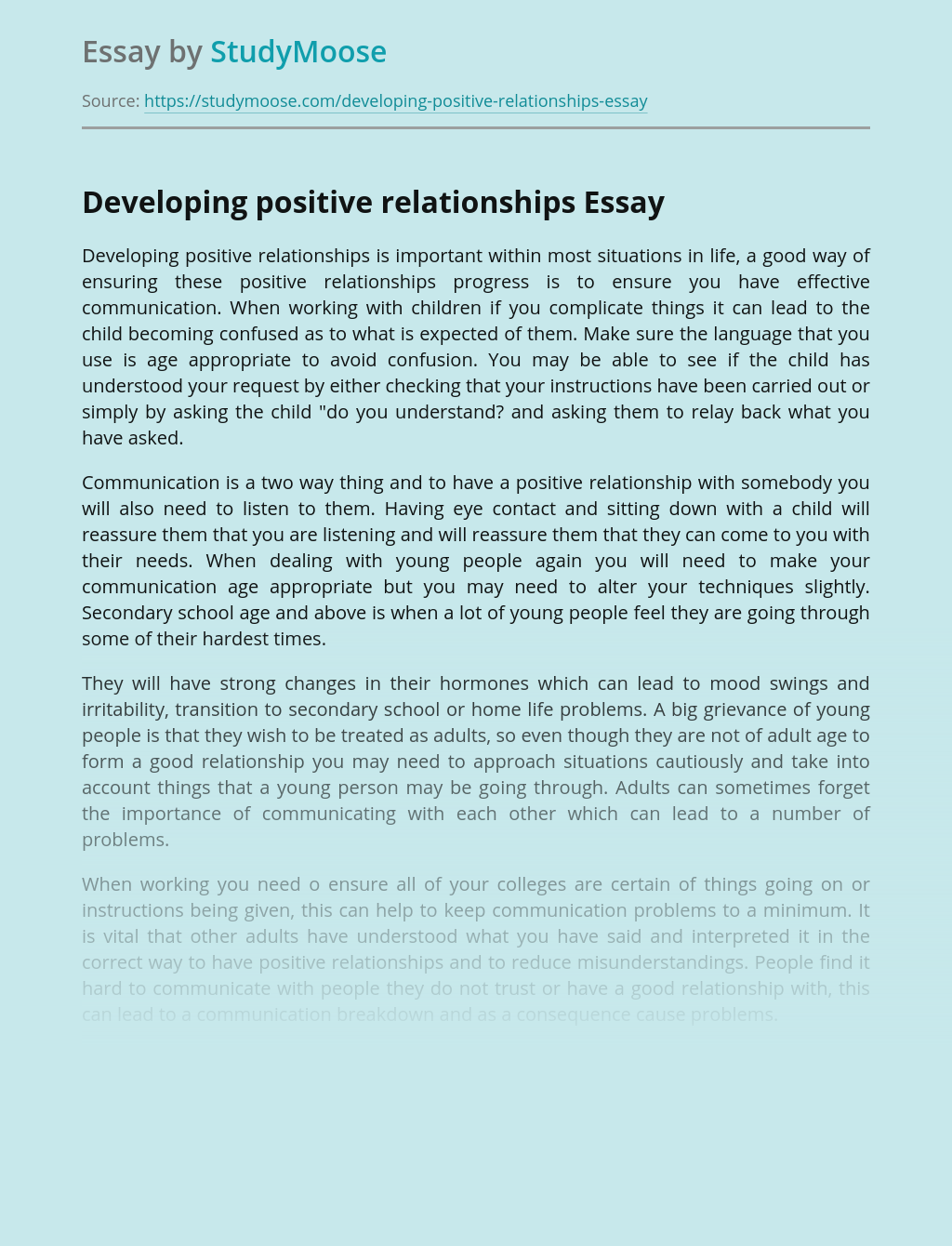 Developing positive relationships