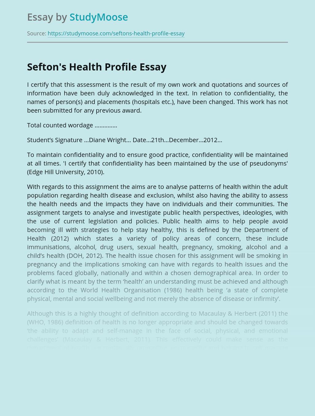 Sefton's Health Profile