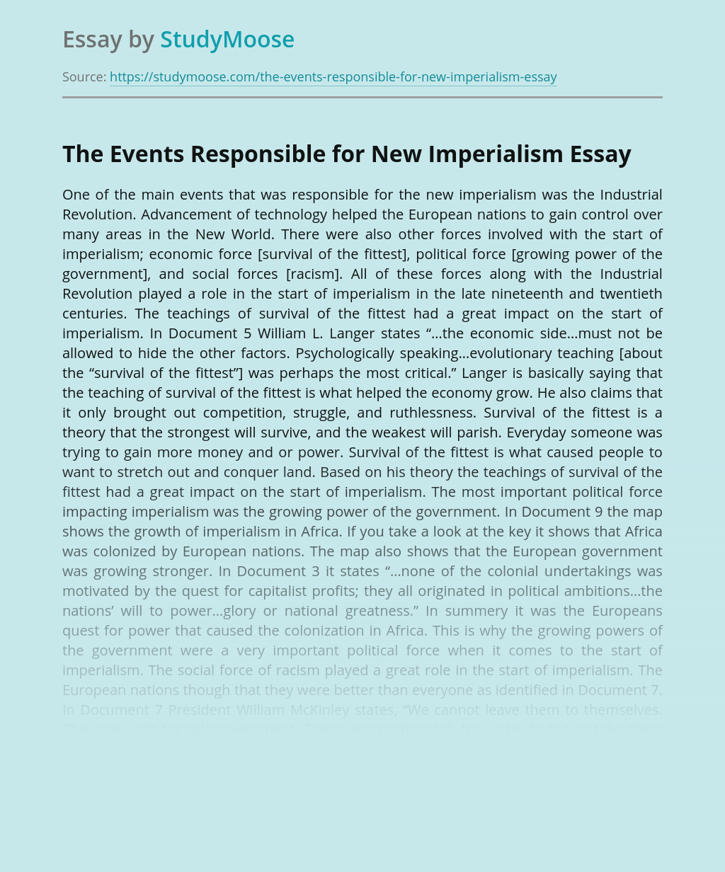 The Events Responsible for New Imperialism