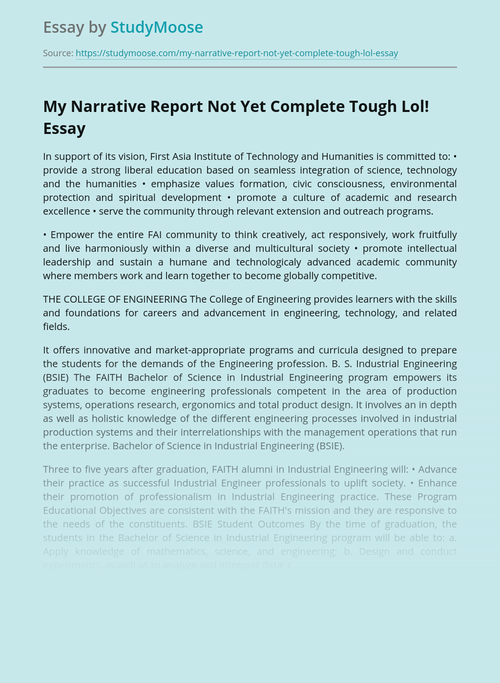The College of Engineering Narrative Report