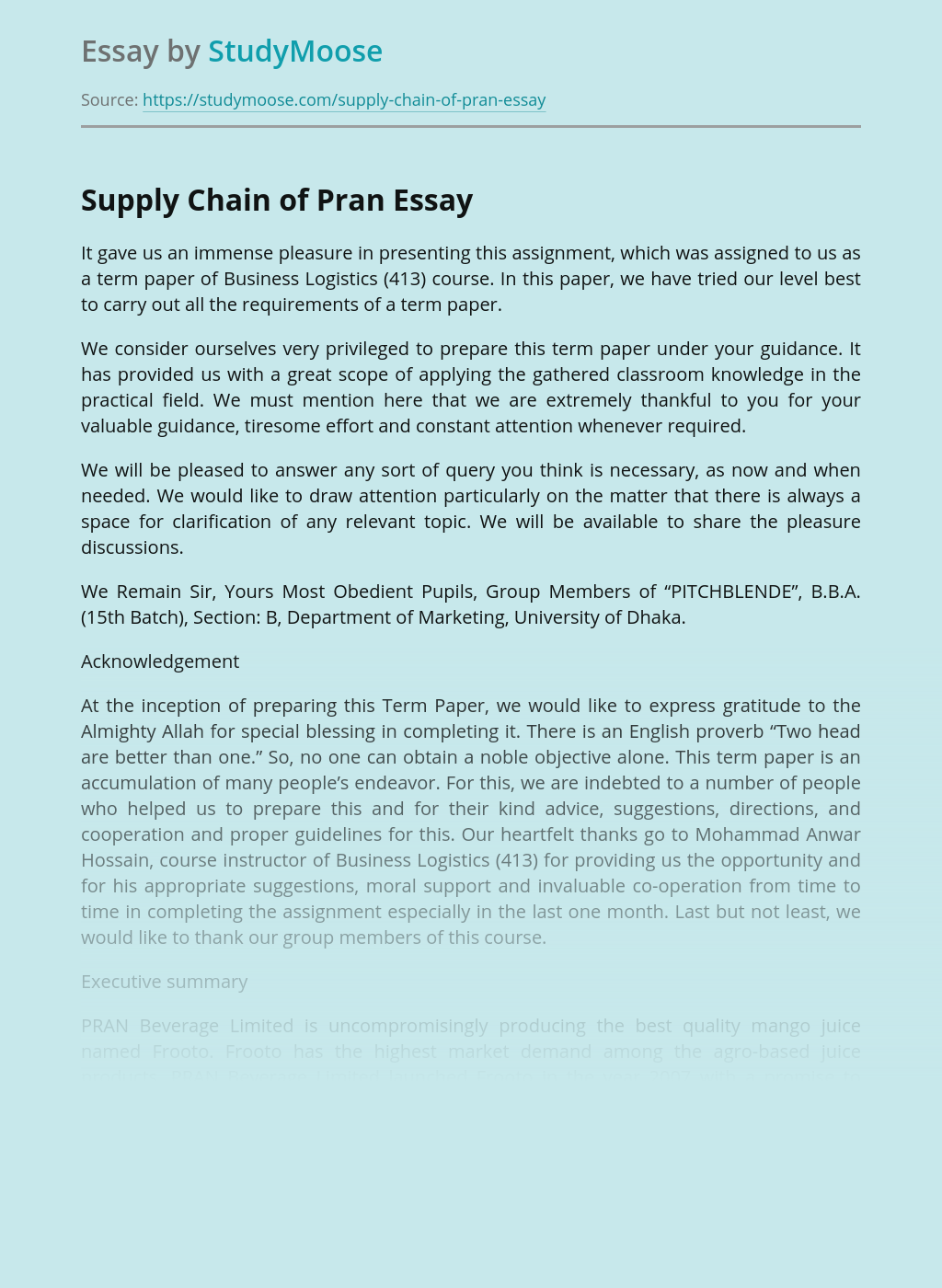 Supply Chain of Pran
