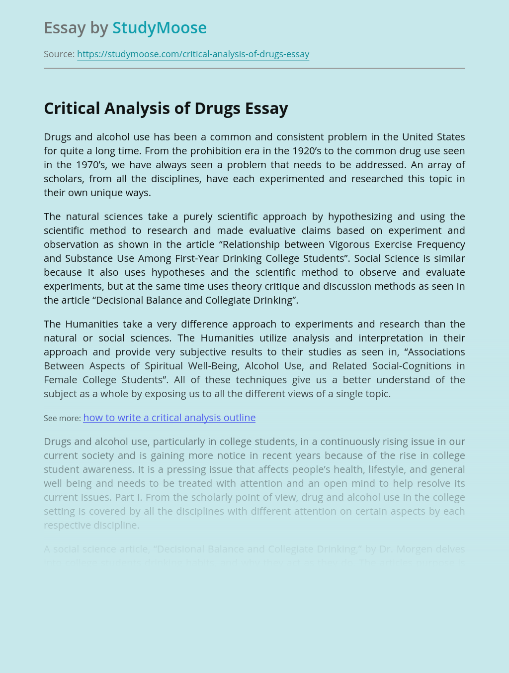 Critical Analysis of Drugs