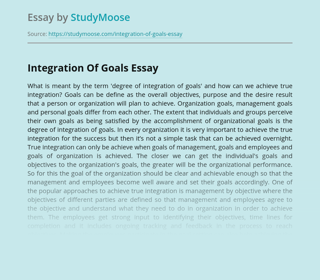 Integration Of Goals