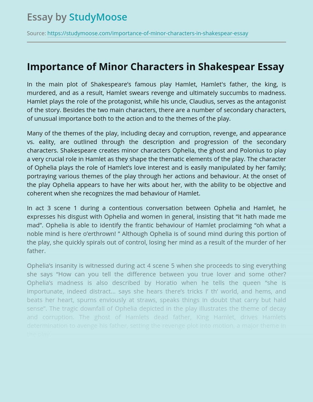 Importance of Minor Characters in Shakespear