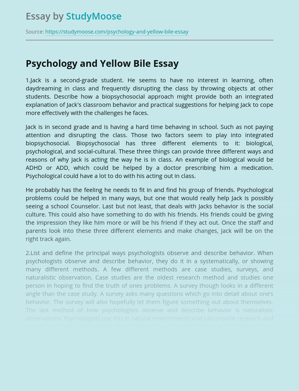 Psychology and Yellow Bile