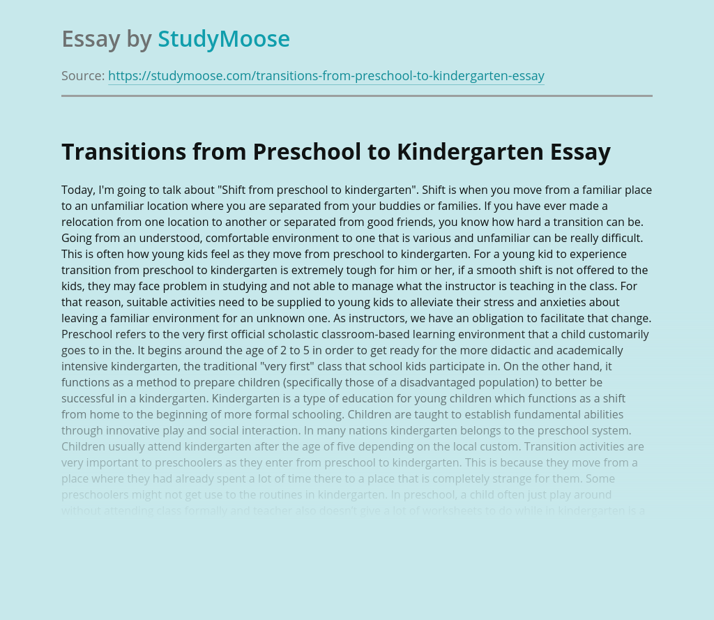 Transitions from Preschool to Kindergarten
