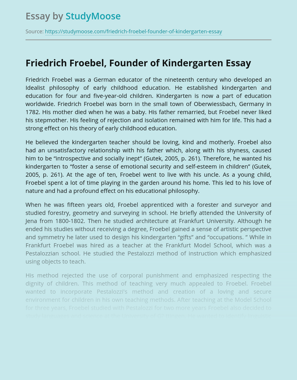 Friedrich Froebel's Contribution to Early Childhood Education
