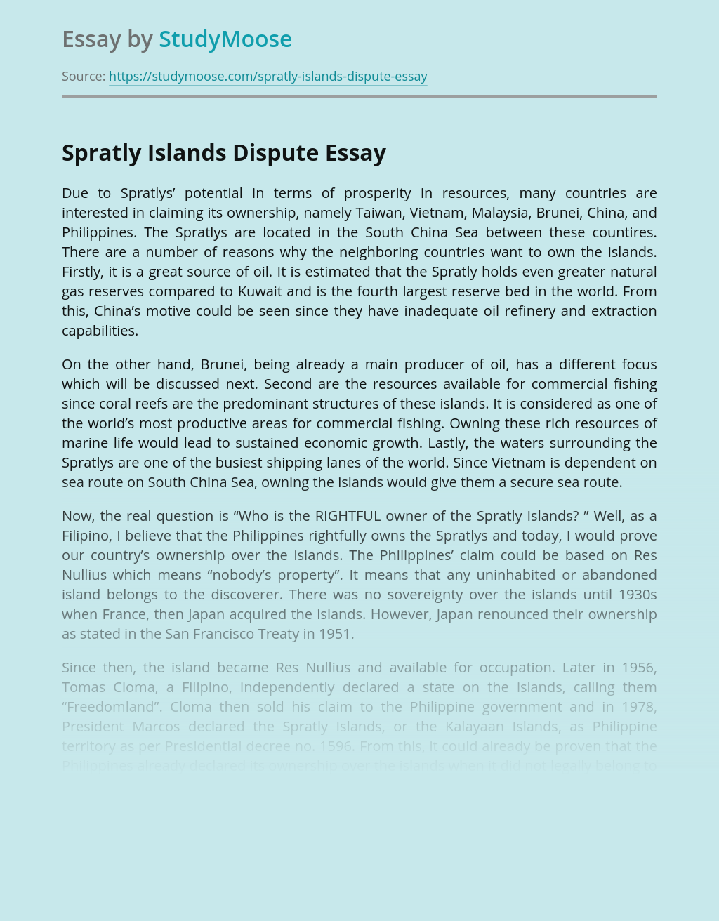 Economy and Other Claims Concerning Spratly Islands Dispute
