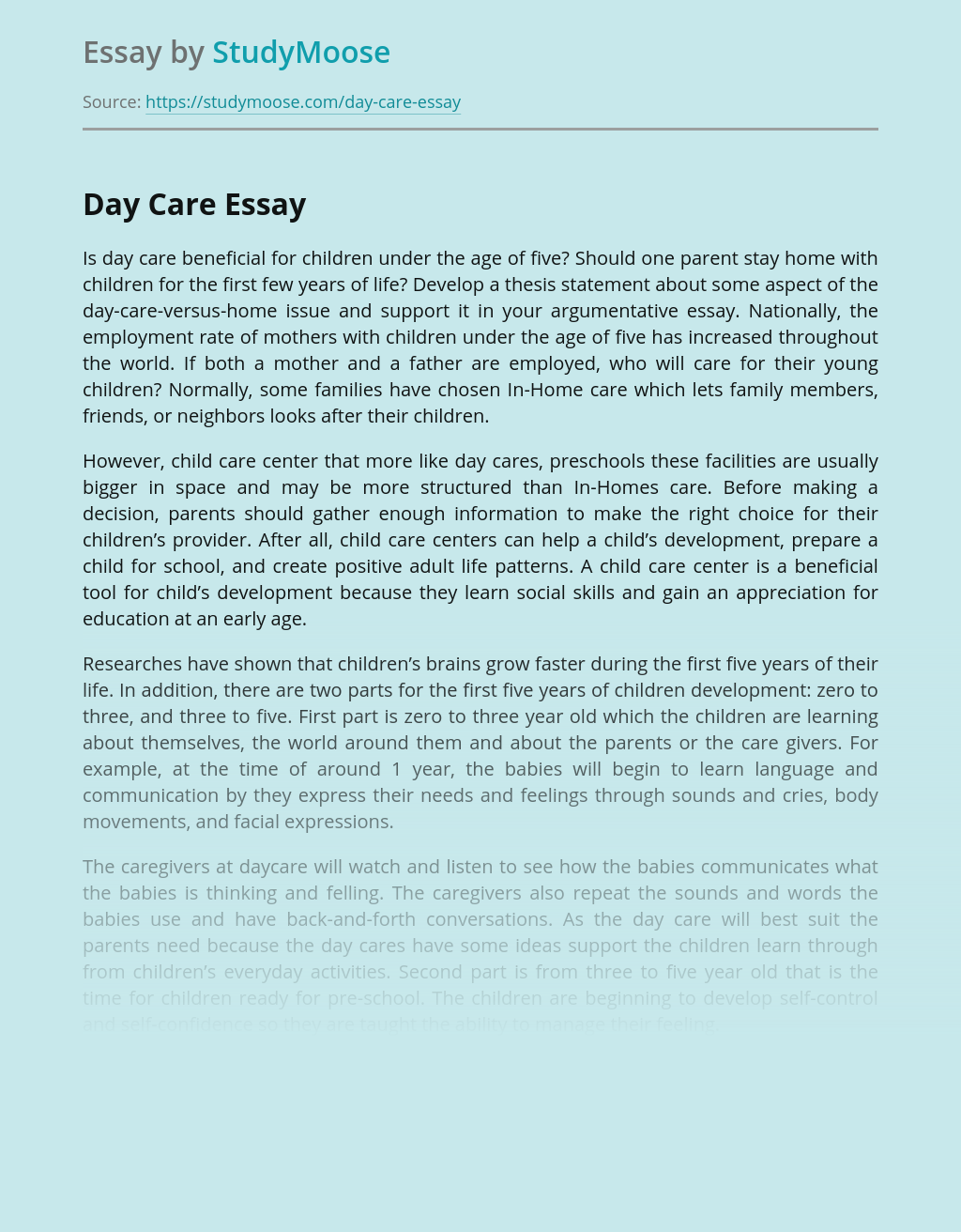 Is Day Care Beneficial for Young Children