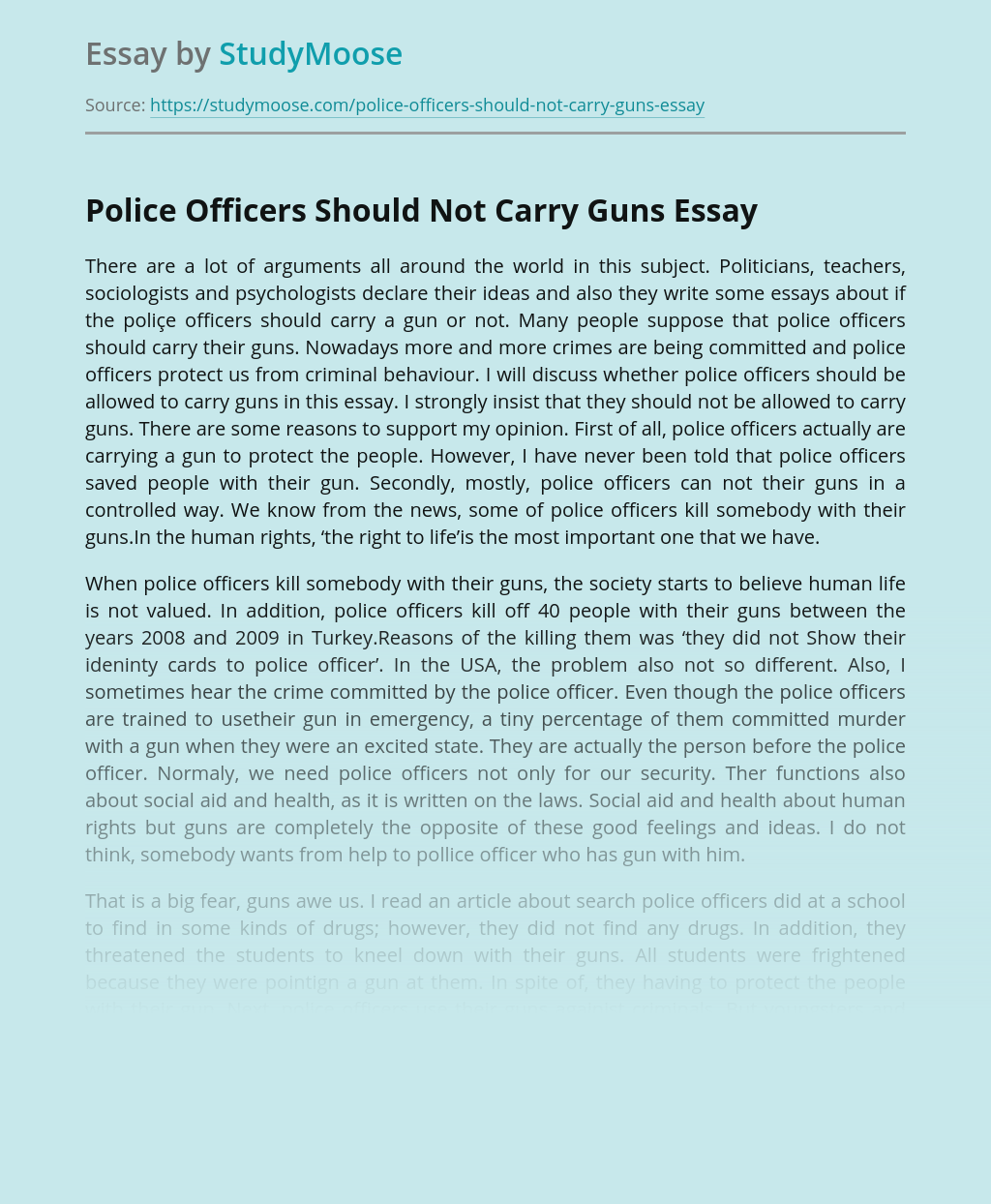 Police Officers Should Not Carry Guns