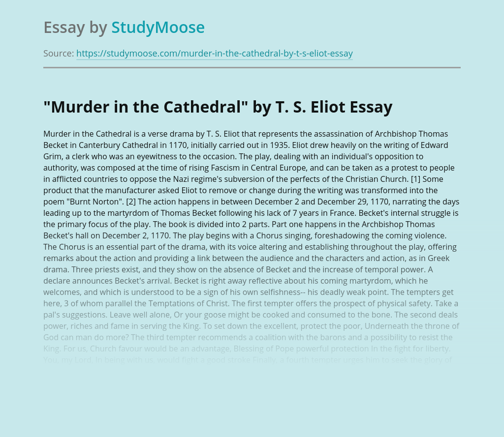 """""""Murder in the Cathedral"""" by T. S. Eliot"""