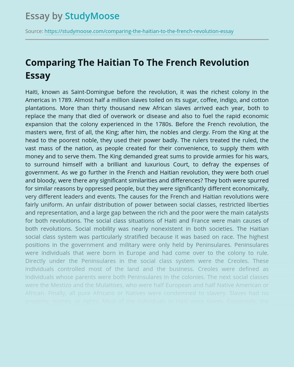 Comparing The Haitian To The French Revolution