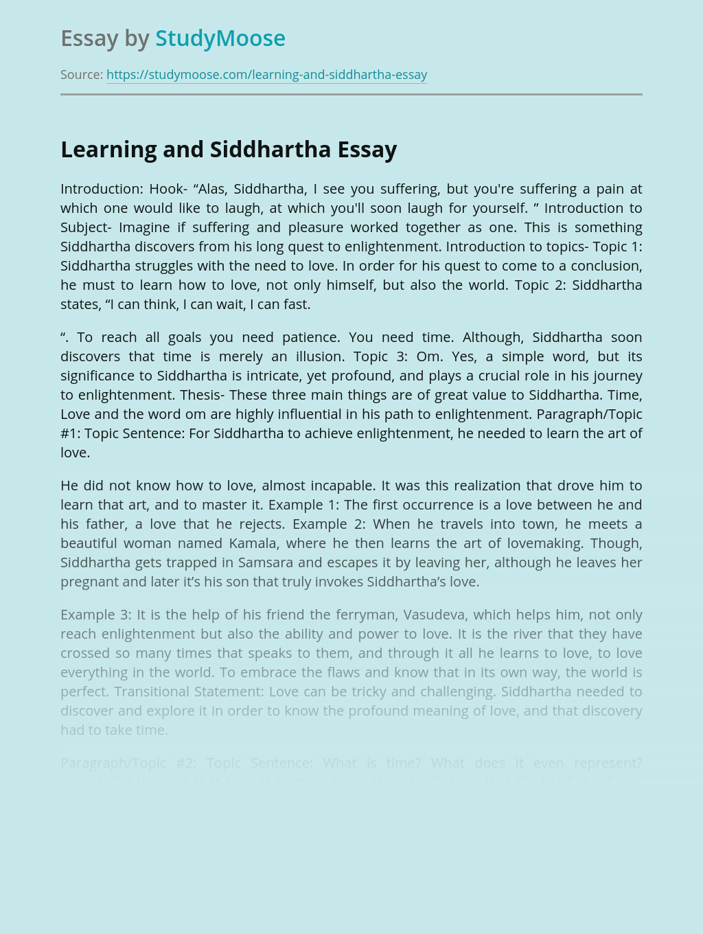Learning and Siddhartha