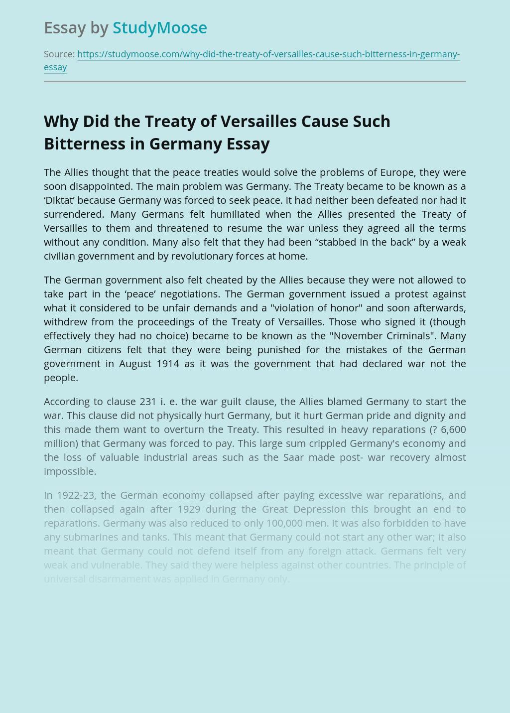 Treaty of Versailles After World War I