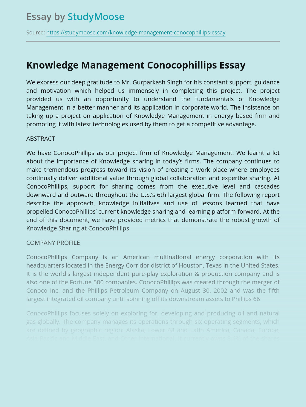 Knowledge Management Conocophillips