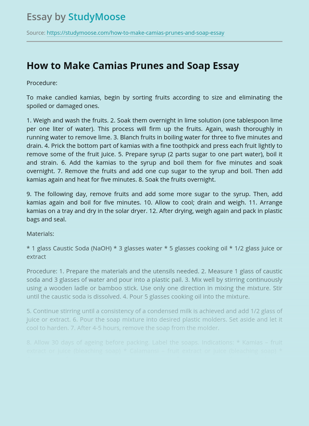 How to Make Camias Prunes and Soap