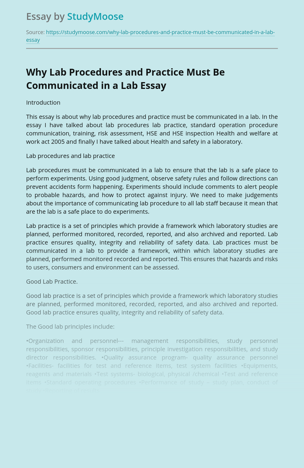 Why Lab Procedures and Practice Must Be Communicated in a Lab