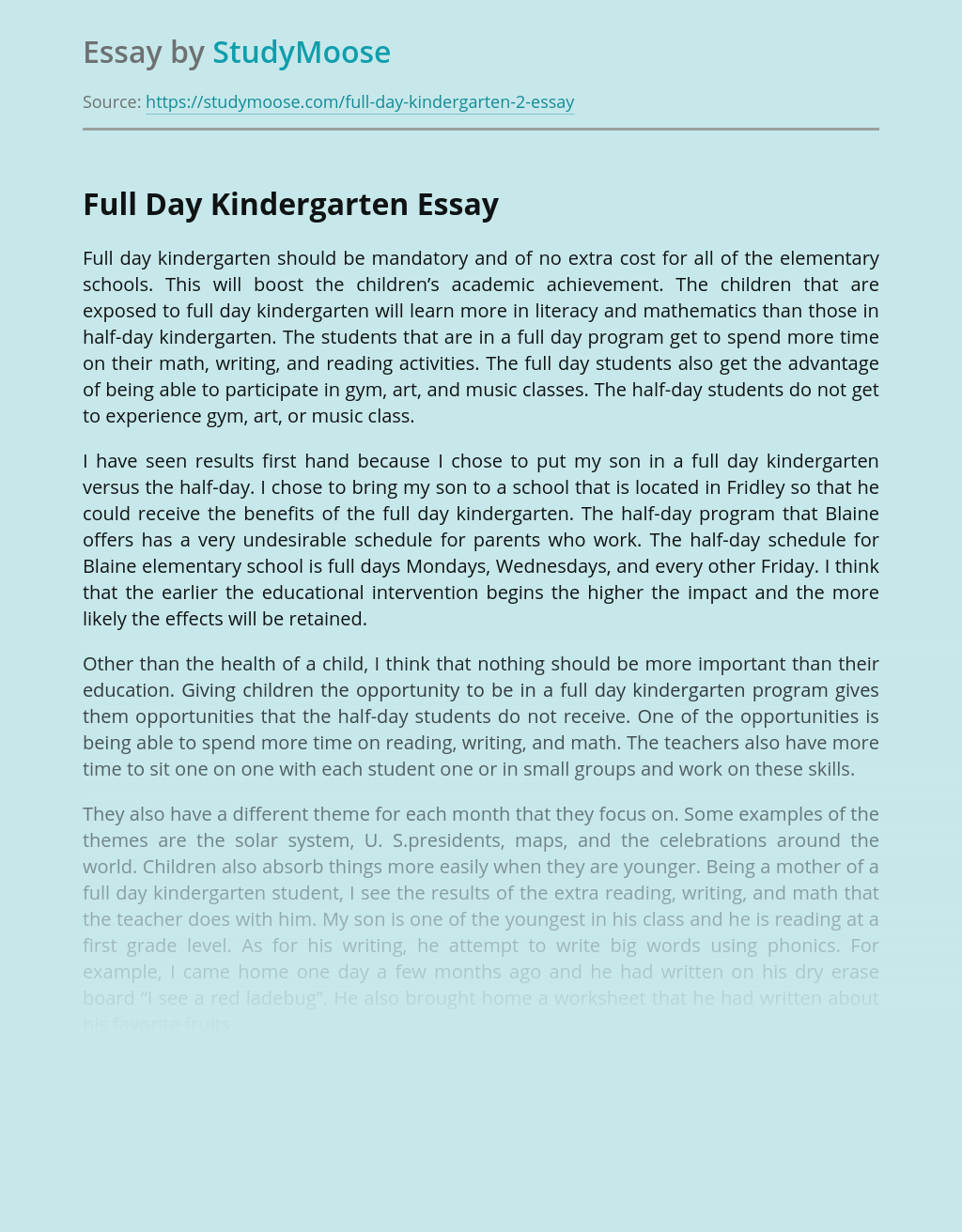 Full-Day Kindergarten Pros and Cons