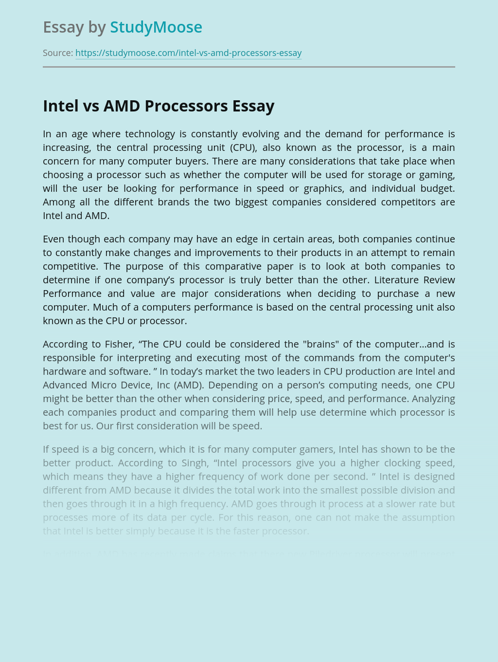 Intel vs AMD for Personal Computer
