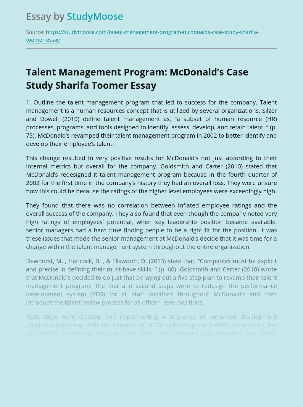 Talent Management Program: McDonald's Case Study Sharifa Toomer