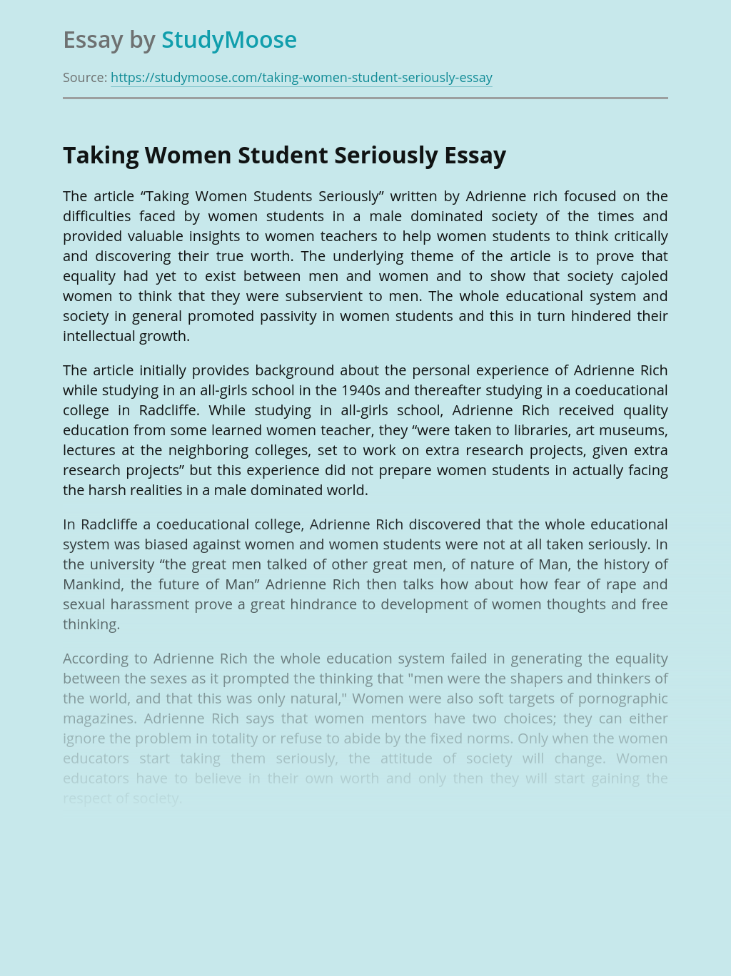 Taking Women Student Seriously