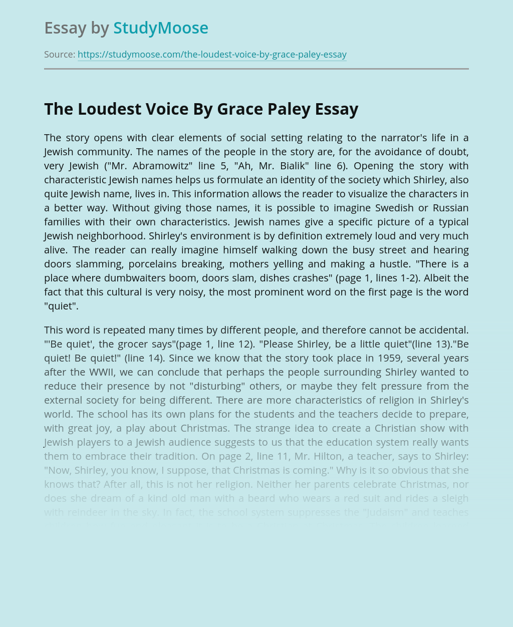 The Loudest Voice By Grace Paley