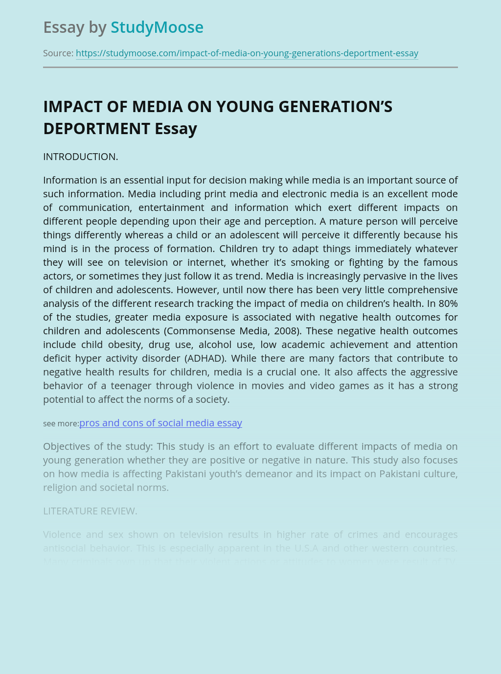 IMPACT OF MEDIA ON YOUNG GENERATION'S DEPORTMENT