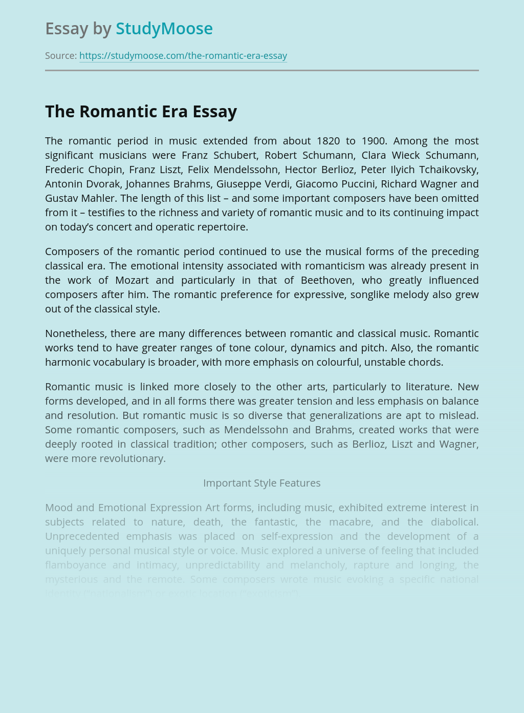 Romanticism in Art, Music and Literature