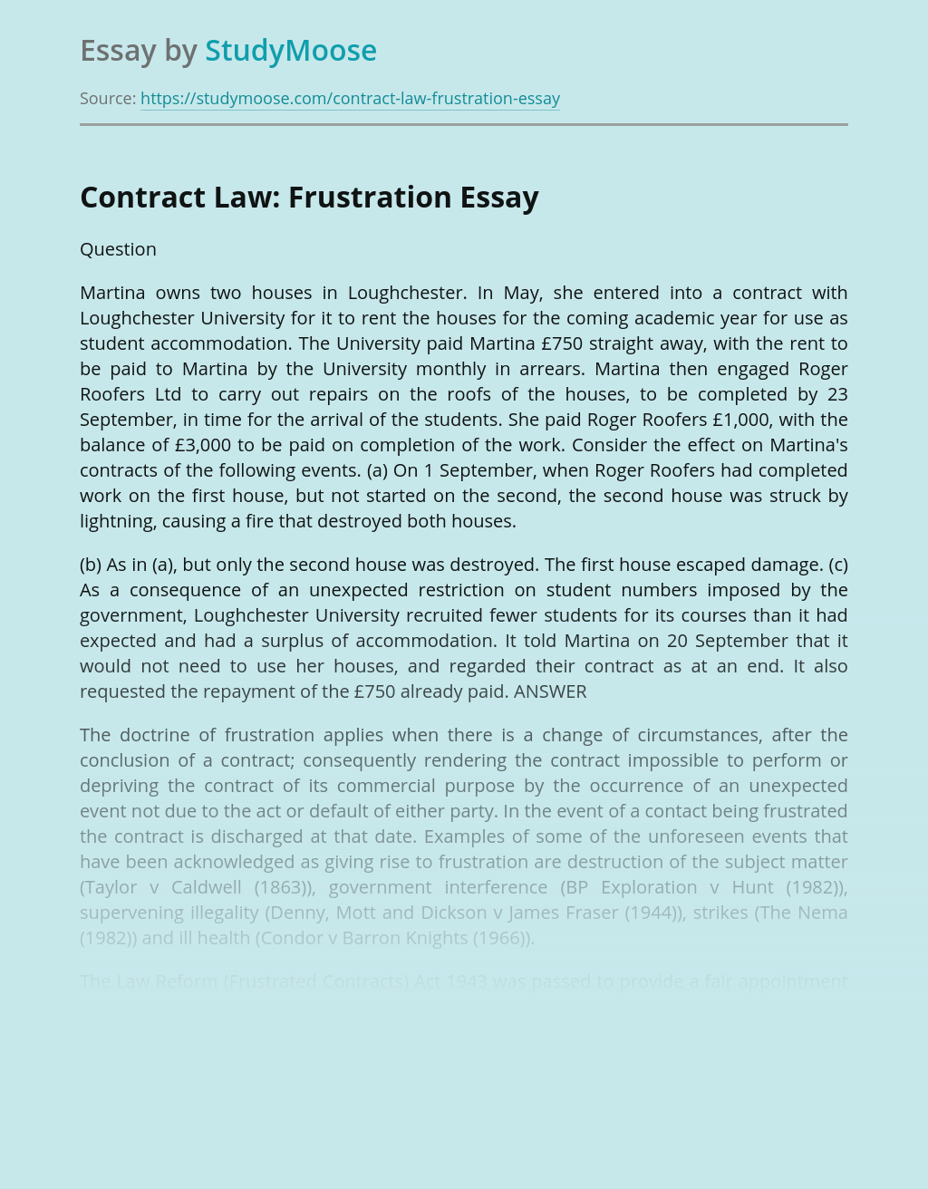 Contract Law: Frustration