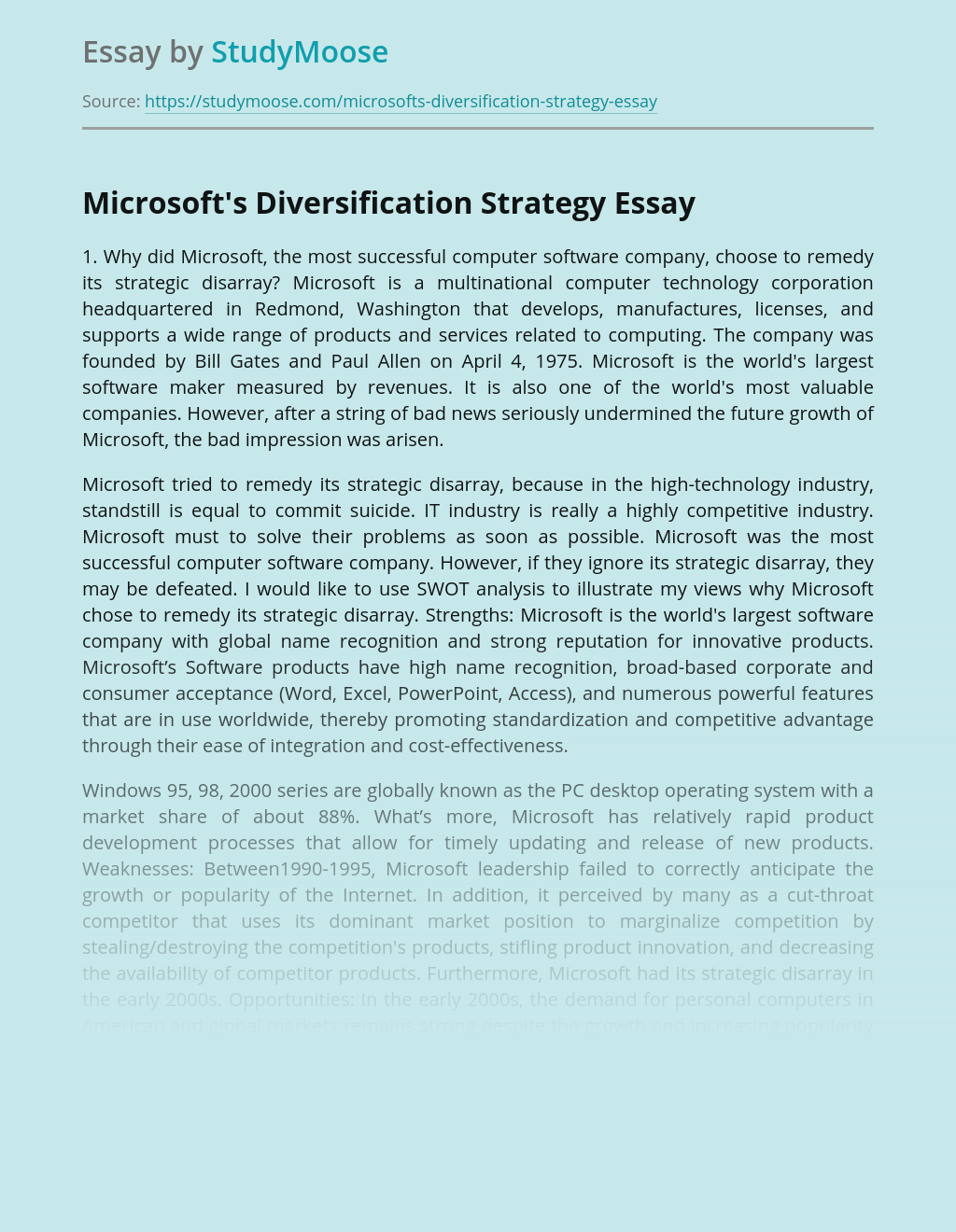 Microsoft's Diversification Strategy in Business