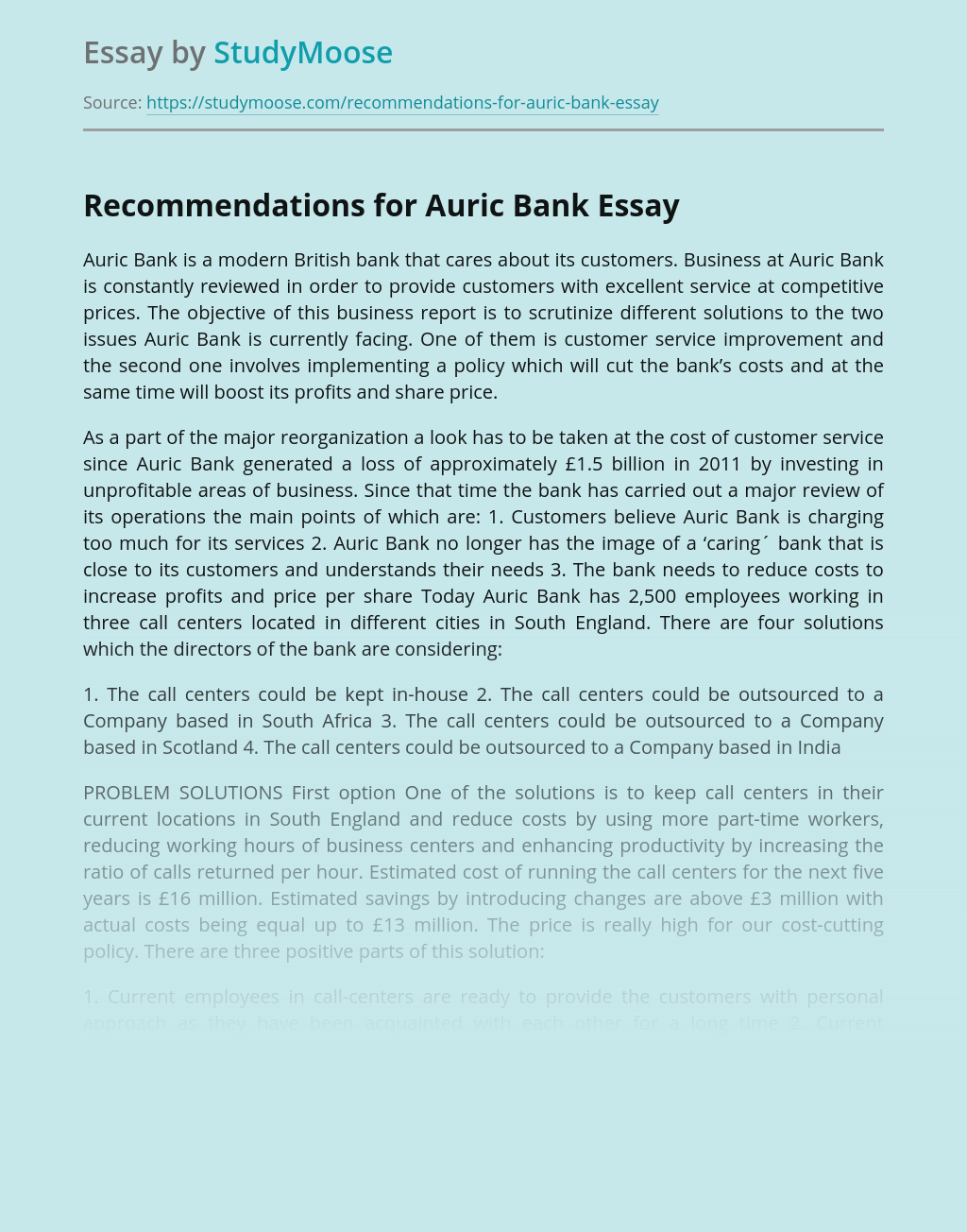 Recommendations for Auric Bank