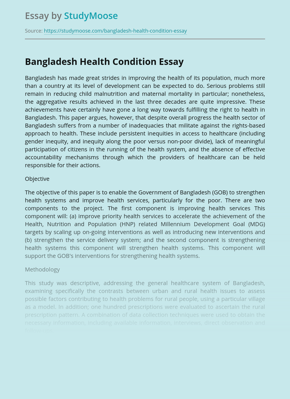 Bangladesh Health Condition