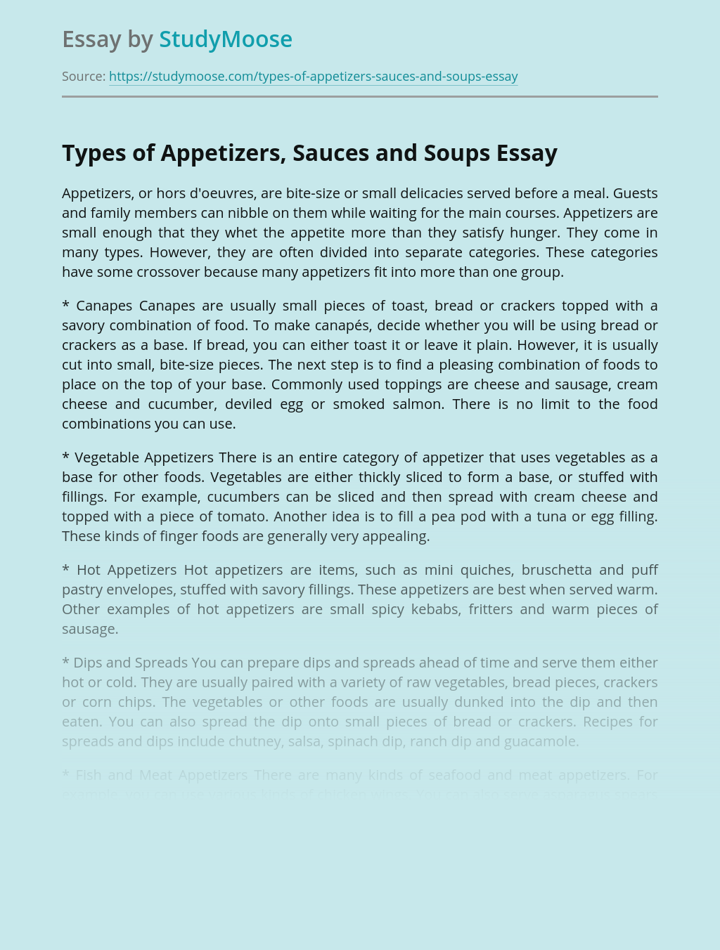 Types of Appetizers, Sauces and Soups