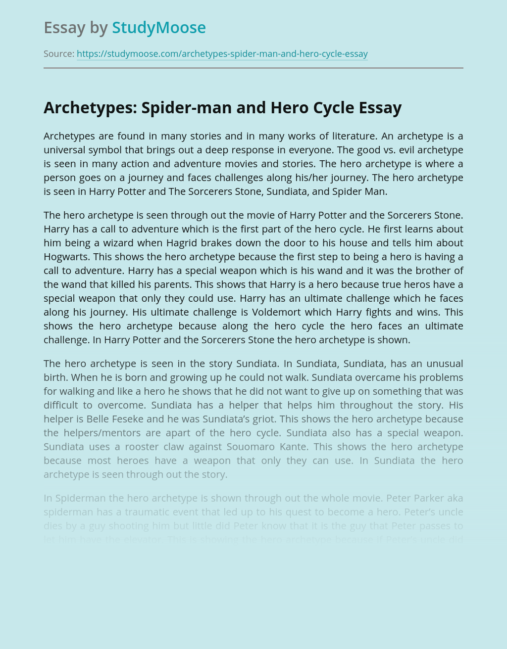 Archetypes: Spider-man and Hero Cycle