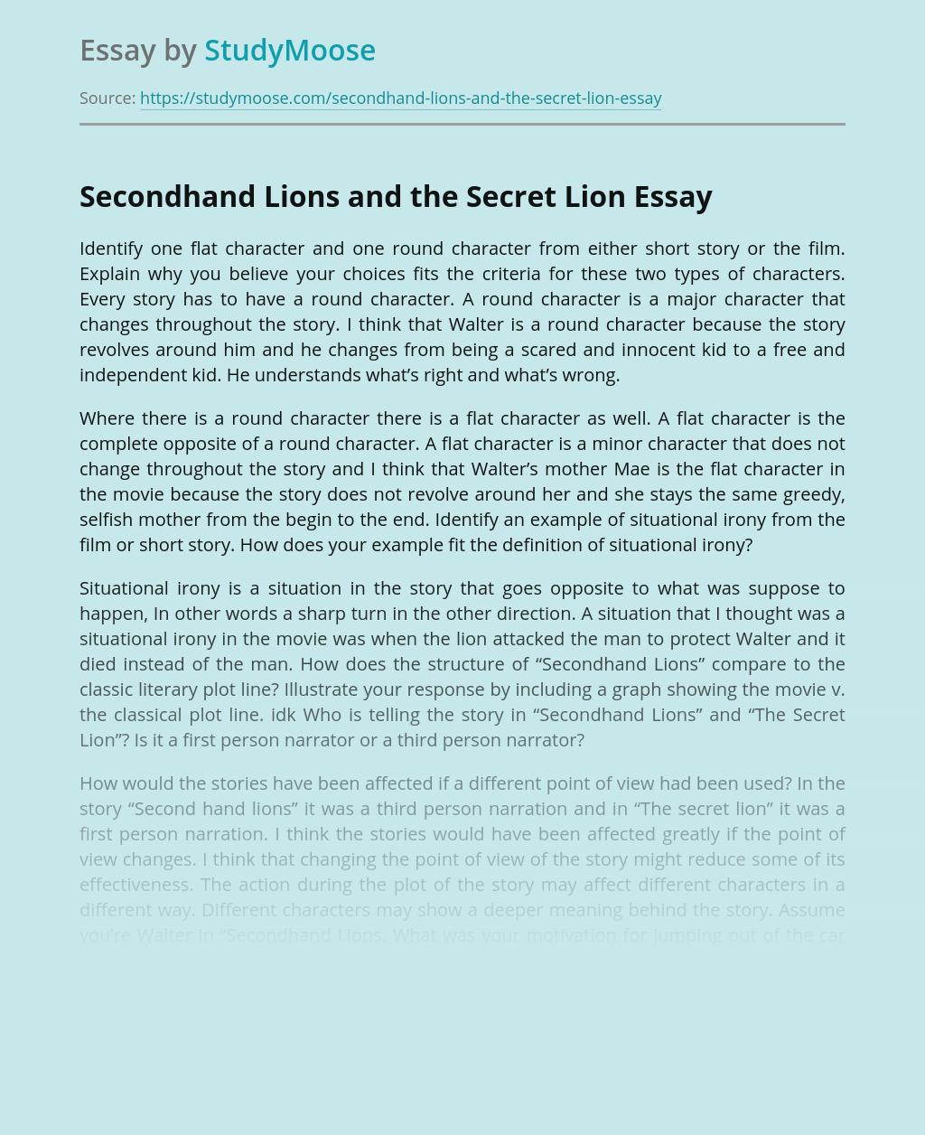 Secondhand Lions and the Secret Lion