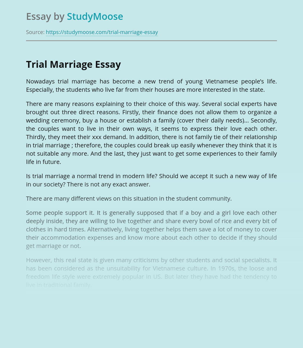 Trial Marriage