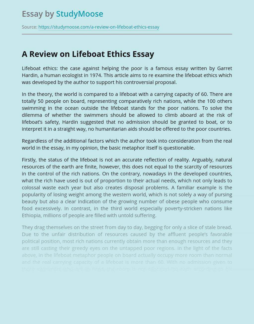 A Review on Lifeboat Ethics