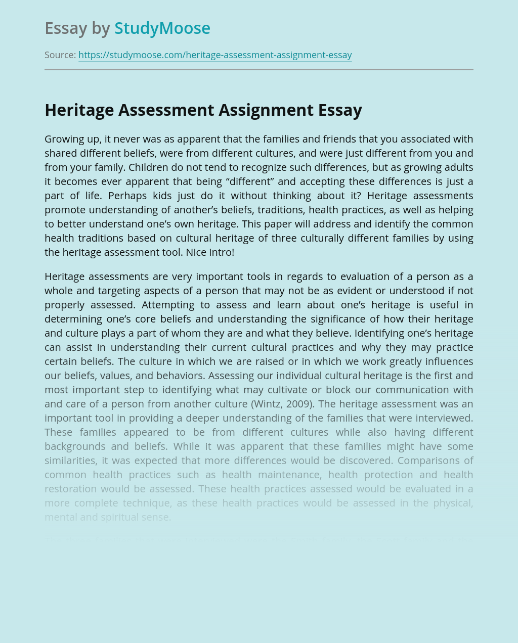 Heritage Assessment Assignment