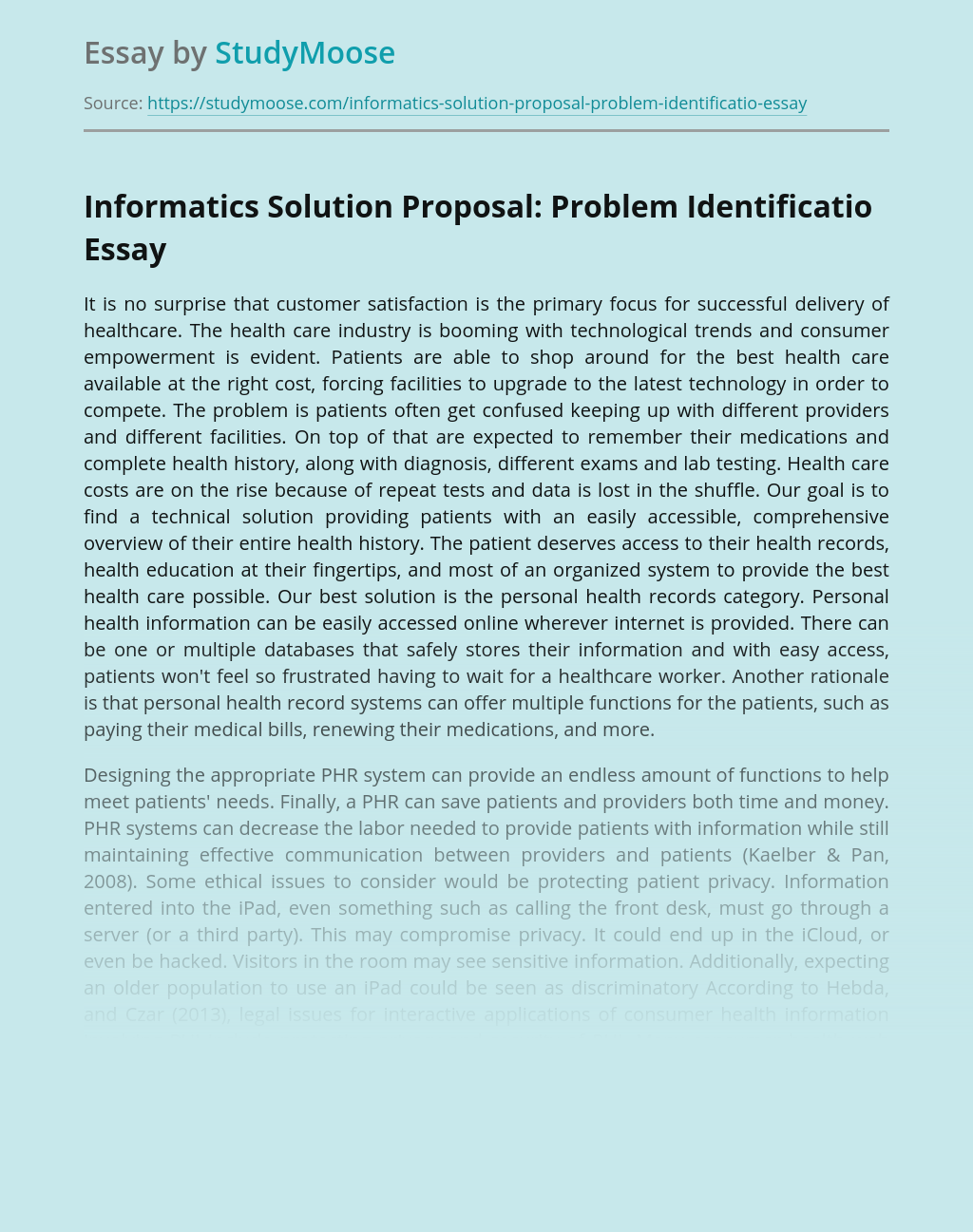 Informatics Solution Proposal: Problem Identification