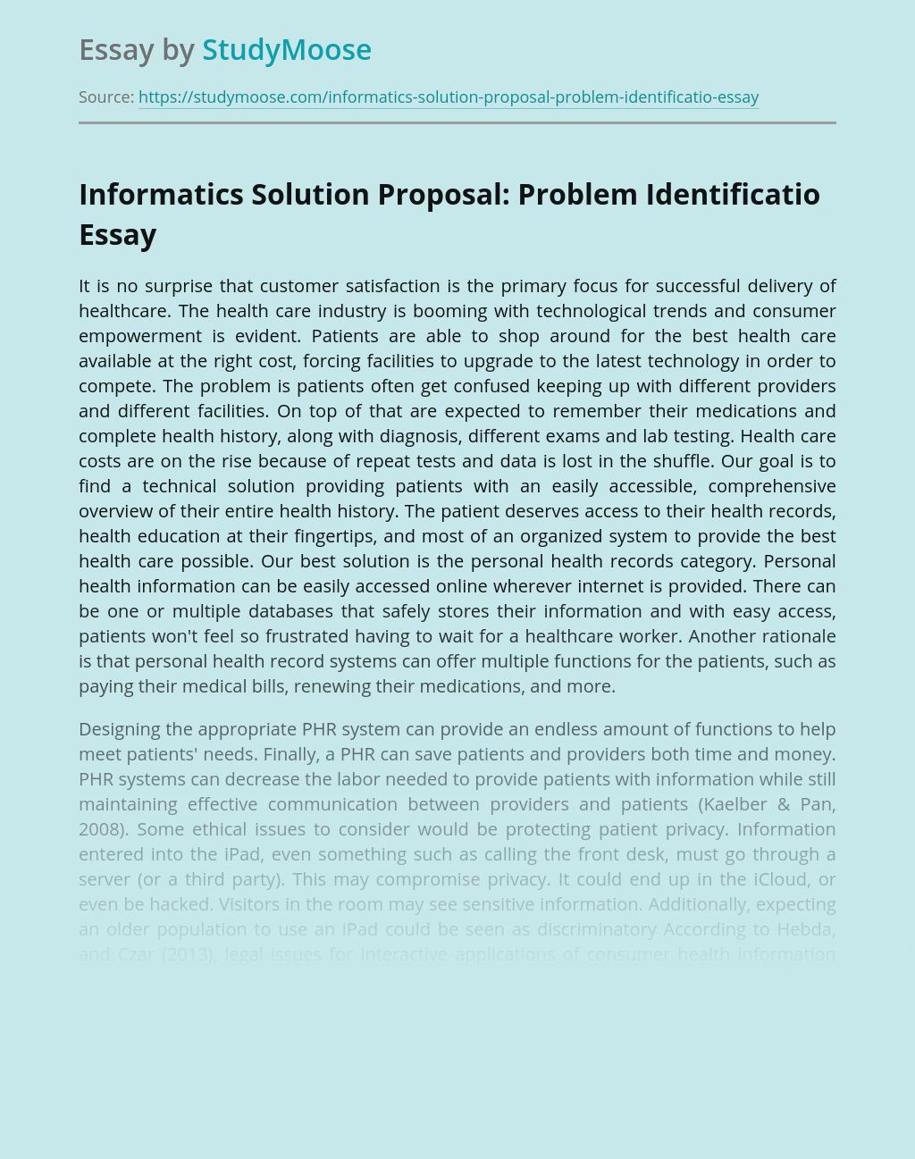 Informatics Solution Proposal: Problem Identificatio