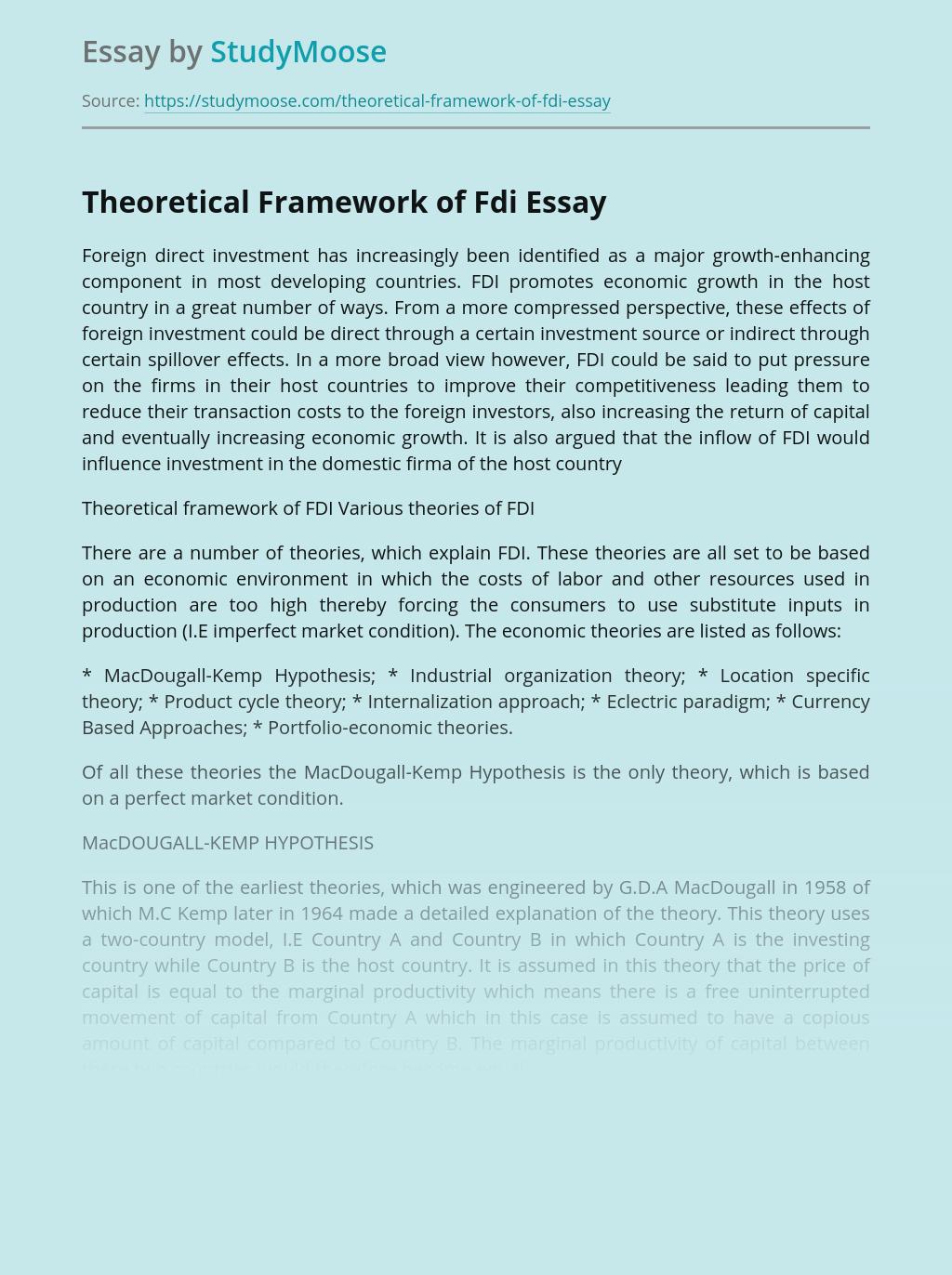 Theoretical Framework of Fdi