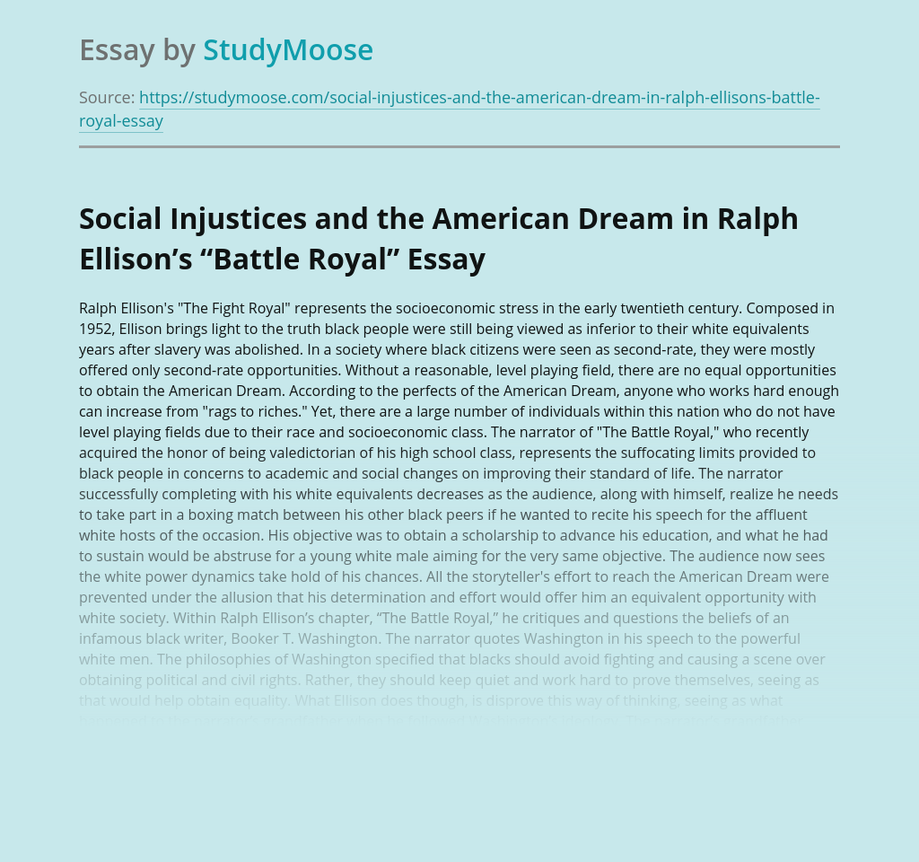 "Social Injustices and the American Dream in Ralph Ellison's ""Battle Royal"""
