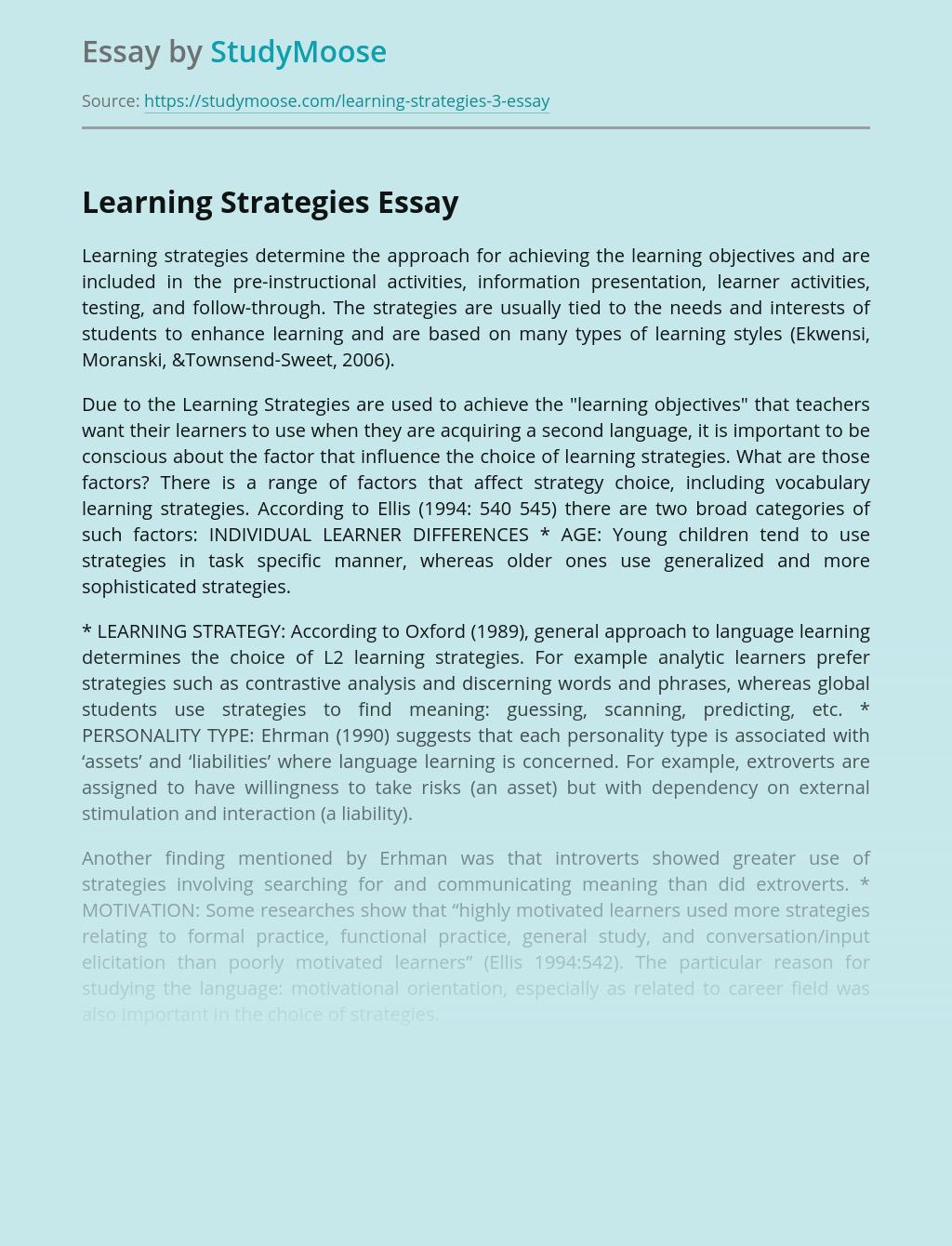 Learning Strategies Essentials