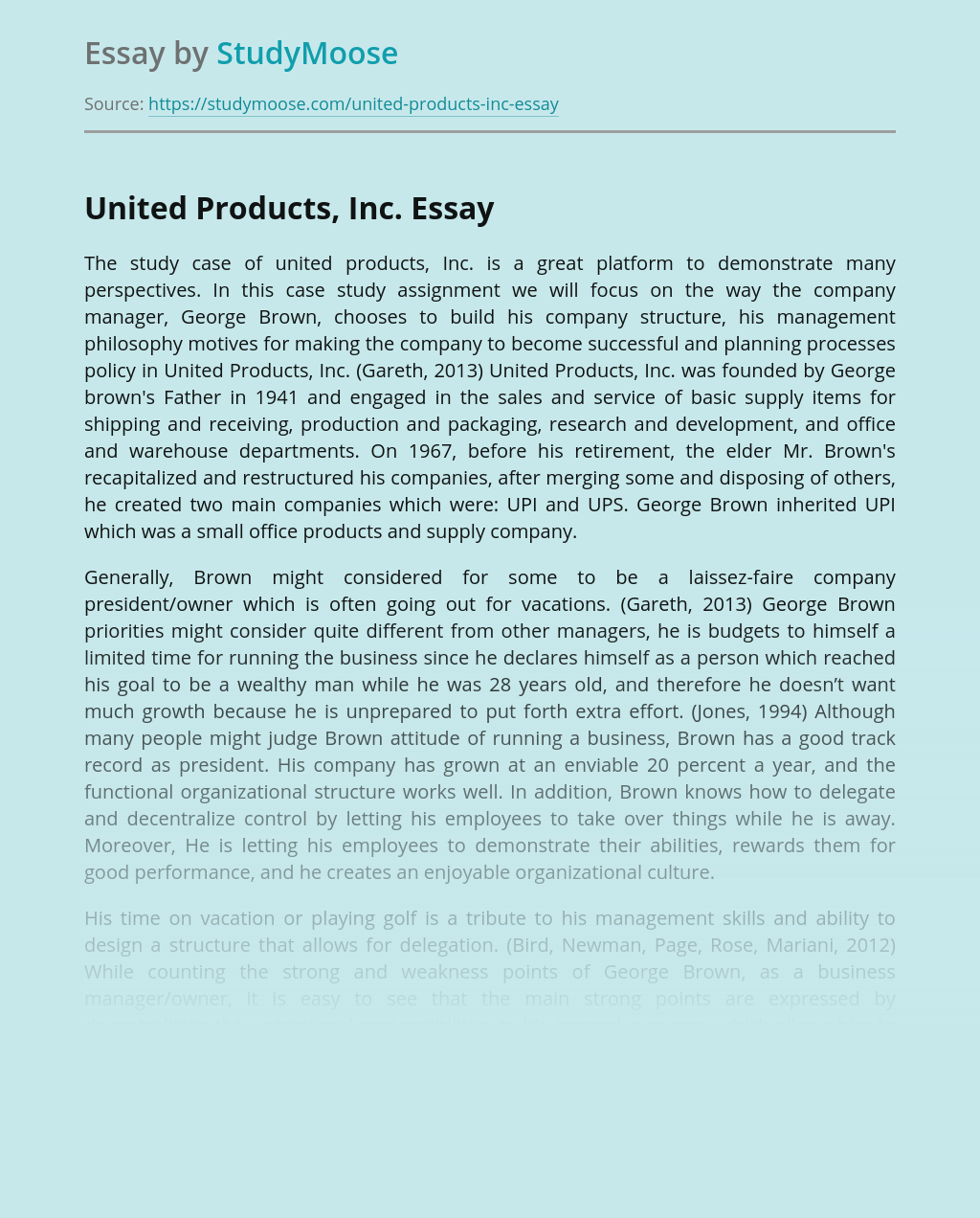 Organizational Structure and Management of United Products Inc