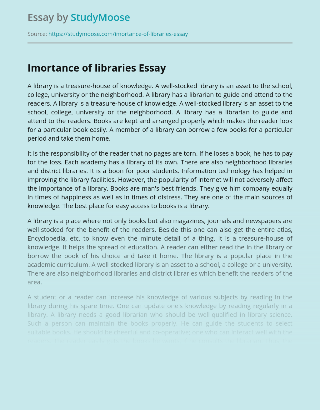 Imortance of libraries