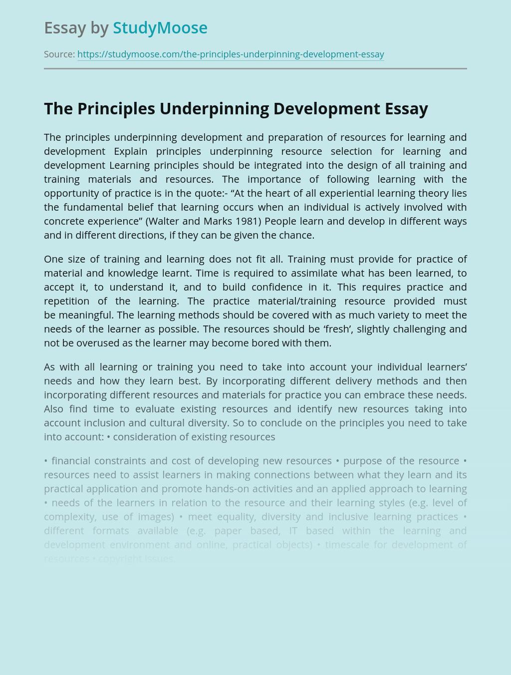 The Principles Underpinning Development