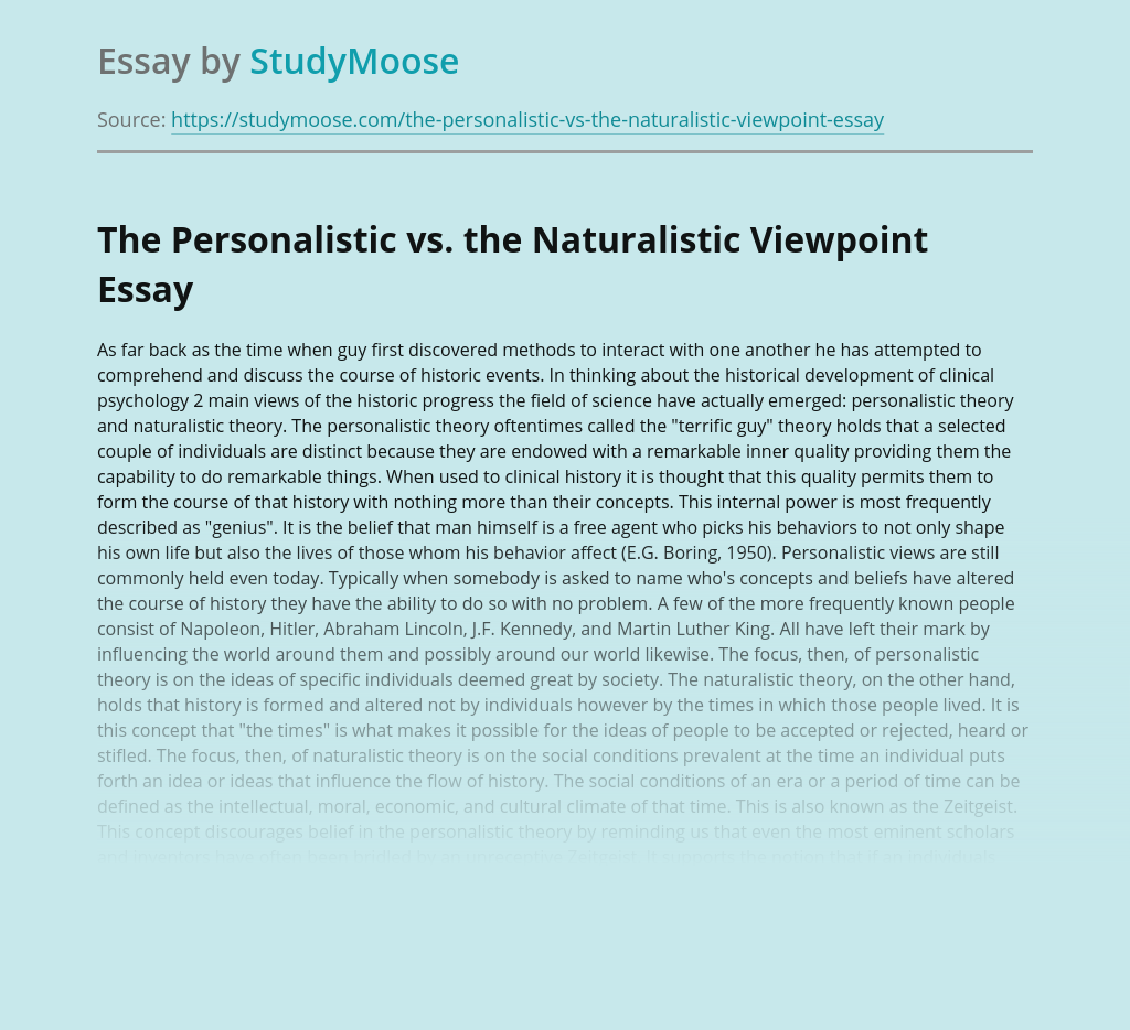 The Personalistic vs. the Naturalistic Viewpoint