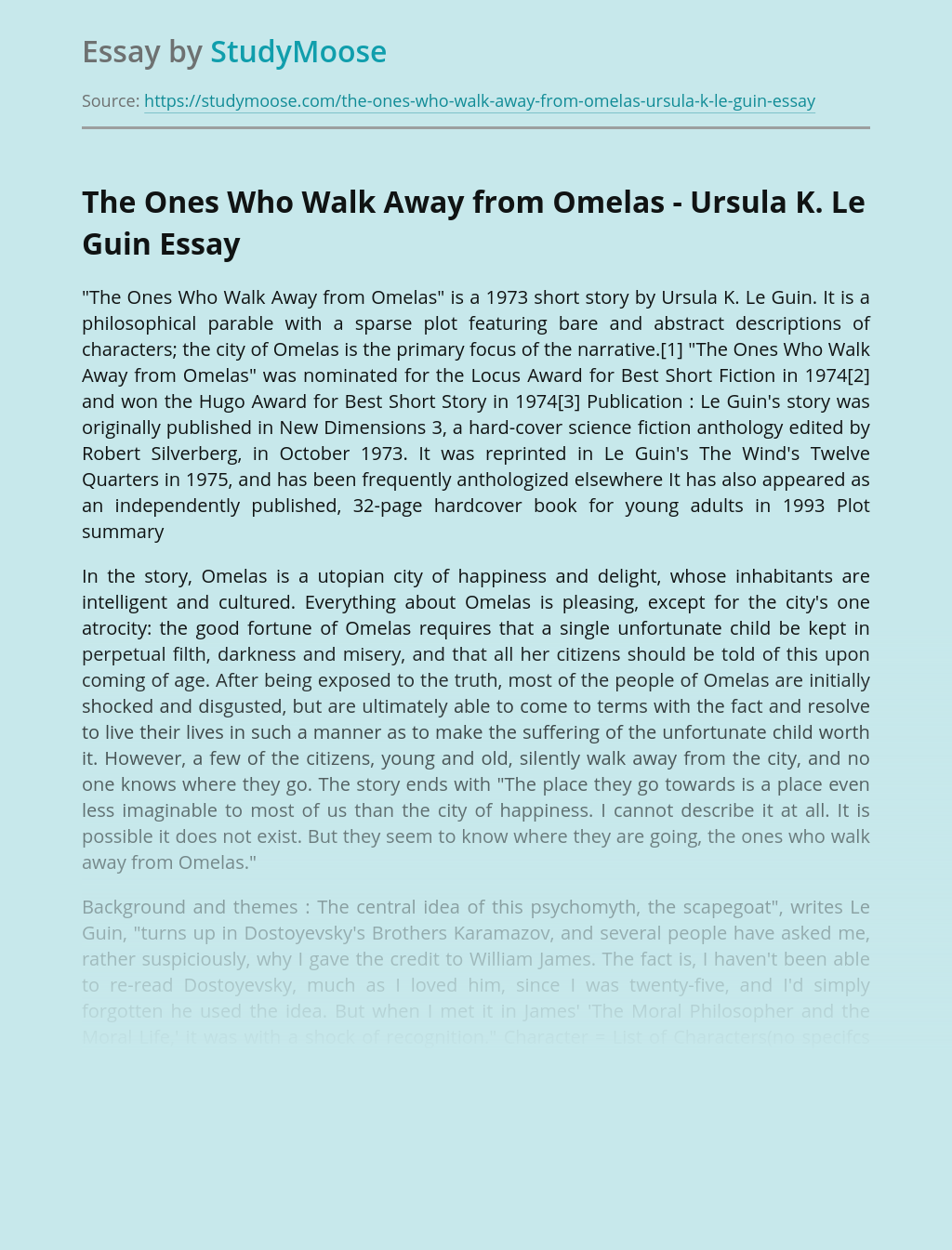 Ursula Le Guin's Short Story Review