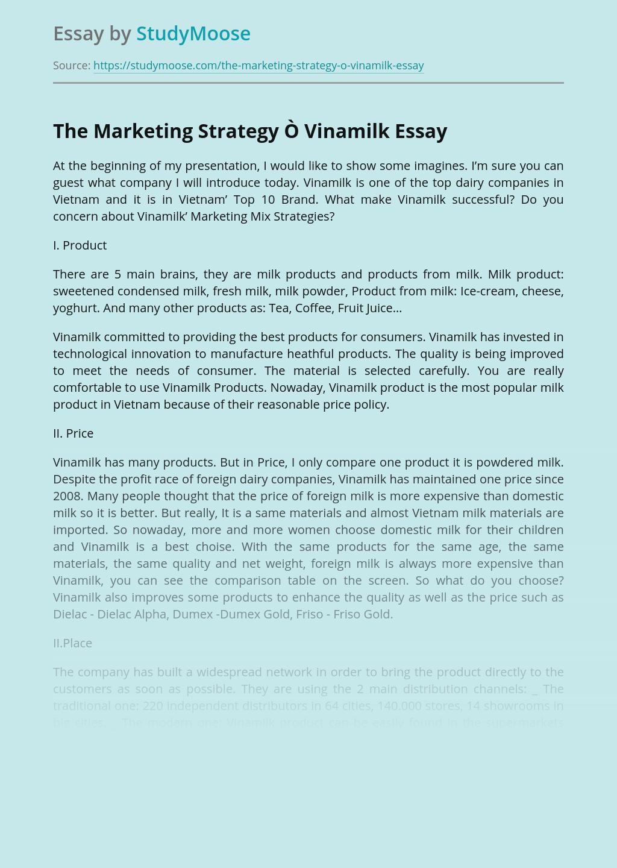 The Marketing Strategy Ò Vinamilk