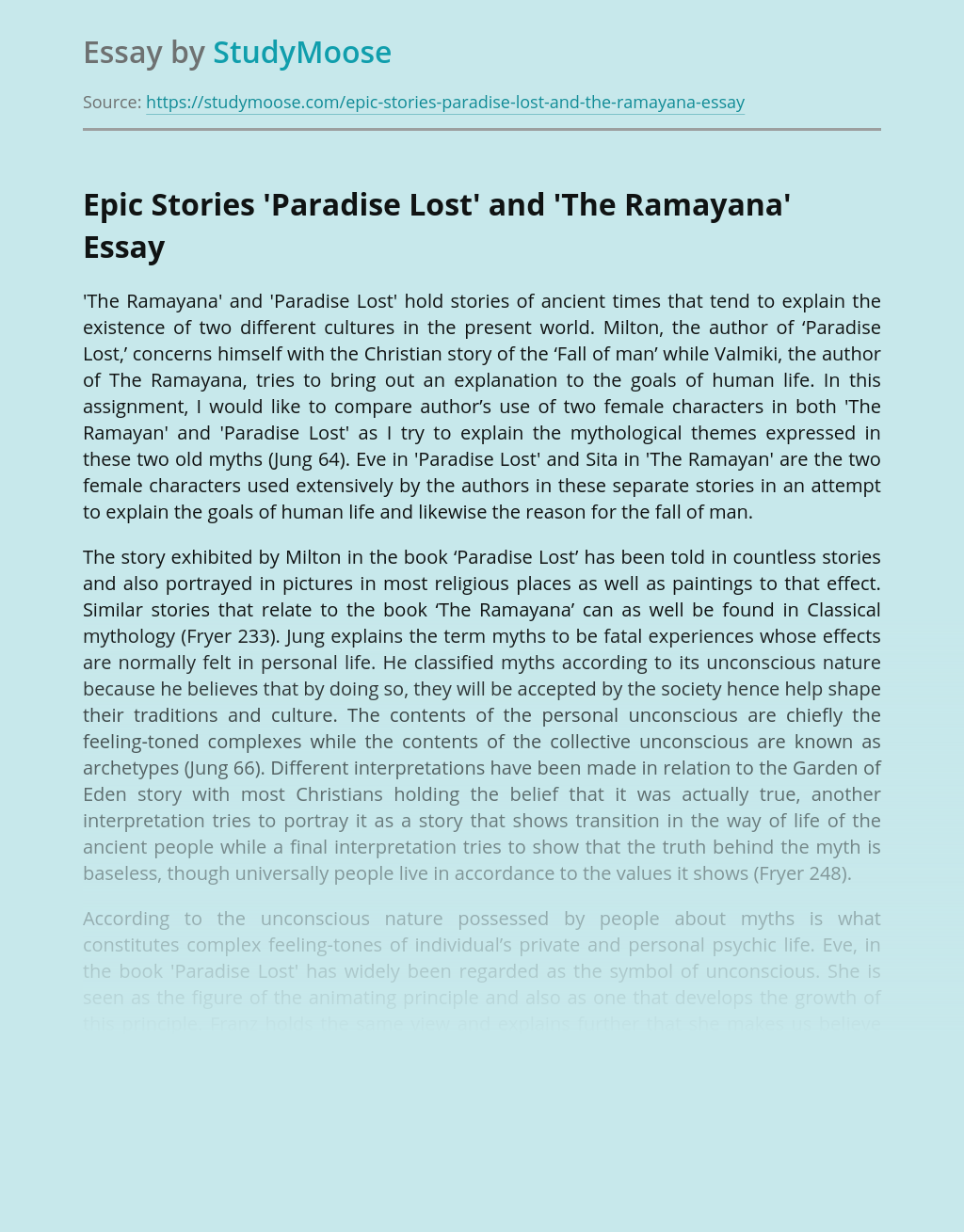 Epic Stories 'Paradise Lost' and 'The Ramayana'
